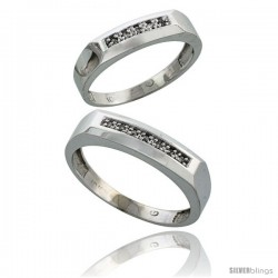 10k White Gold Diamond Wedding Rings 2-Piece set for him 5 mm & Her 4.5 mm 0.07 cttw Brilliant Cut -Style Ljw009w2