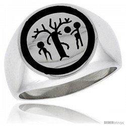 Sterling Silver Forbidden Fruit Ring w/ Adam & Eve & the Serpent