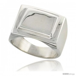 Sterling Silver Large Rectangular Signet Ring Solid Back Handmade