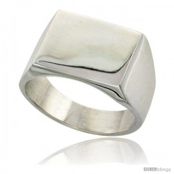 Sterling Silver Square Signet Ring Solid Back Handmade