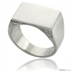 Sterling Silver Rectangular Signet Ring Solid Back Handmade