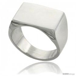 Sterling Silver Rectangular Signet Ring Solid Back Handmade