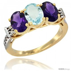 10K Yellow Gold Natural Aquamarine & Amethyst Sides Ring 3-Stone Oval 7x5 mm Diamond Accent