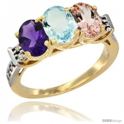 10K Yellow Gold Natural Amethyst, Aquamarine & Morganite Ring 3-Stone Oval 7x5 mm Diamond Accent