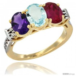 10K Yellow Gold Natural Amethyst, Aquamarine & Ruby Ring 3-Stone Oval 7x5 mm Diamond Accent