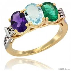 10K Yellow Gold Natural Amethyst, Aquamarine & Emerald Ring 3-Stone Oval 7x5 mm Diamond Accent