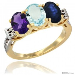 10K Yellow Gold Natural Amethyst, Aquamarine & Blue Sapphire Ring 3-Stone Oval 7x5 mm Diamond Accent