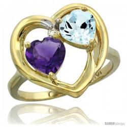 10k Yellow Gold 2-Stone Heart Ring 6mm Natural Amethyst & Aquamarine