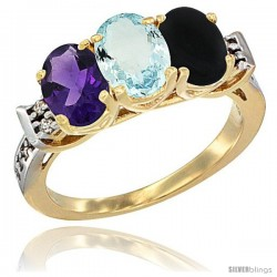 10K Yellow Gold Natural Amethyst, Aquamarine & Black Onyx Ring 3-Stone Oval 7x5 mm Diamond Accent