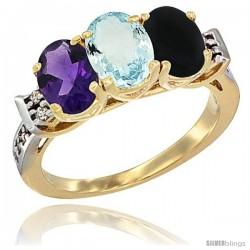 10K Yellow Gold Natural Amethyst, Aquamarine & Black Onyx Ring 3-Stone Oval 7x5 mm Diamond Accent