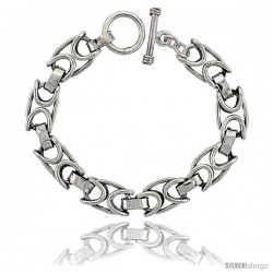 Sterling Silver Oval Link Bracelet Toggle Clasp Handmade 1/2 in wide -Style Lx460