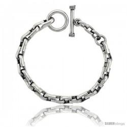 Sterling Silver U-shaped Links Bracelet Toggle Clasp Handmade 5/16 in wide