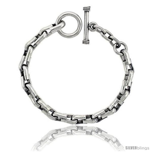 https://www.silverblings.com/42615-thickbox_default/sterling-silver-u-shaped-links-bracelet-toggle-clasp-handmade-5-16-in-wide.jpg