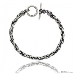 Sterling Silver Handmade Long Rope Bracelet Toggle Clasp Handmade 1/4 in wide