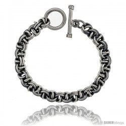 Sterling Silver Garibaldi Link Bracelet Toggle Clasp Handmade 3/8 in wide