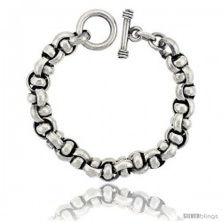 Sterling Silver Interlaced Circles Link Bracelet Toggle Clasp Handmade 7/16 in wide