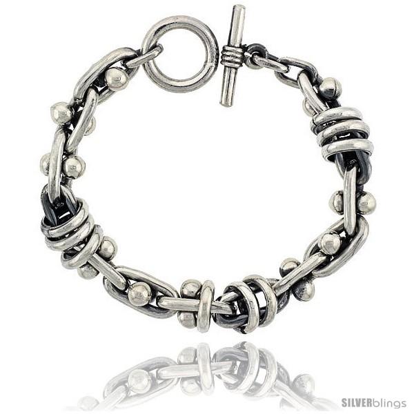 https://www.silverblings.com/42627-thickbox_default/sterling-silver-beaded-oval-link-bracelet-toggle-clasp-handmade-1-2-in-wide.jpg