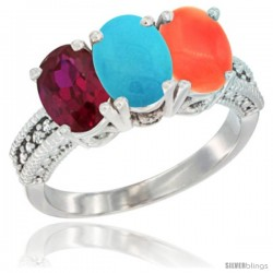 10K White Gold Natural Ruby, Turquoise & Coral Ring 3-Stone Oval 7x5 mm Diamond Accent