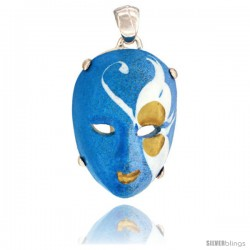 Sterling Silver Venetian Carnival Mask Pendant Hand Painted Ceramic Blue-White Italy 1 1/8 in