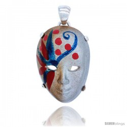 Sterling Silver Venetian Carnival Mask Pendant Hand Painted Ceramic Silver-Gold Italy 1 1/8 in