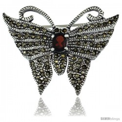 Sterling Silver Marcasite Butterfly Brooch Pin w/ Oval Cut Garnet Stone, 1 1/4 in (32 mm) tall