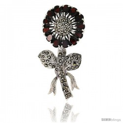 Sterling Silver Marcasite Large Sunflower Brooch Pin w/ Pear Cut Garnet Stones, 2 1/2 in (62 mm) tall