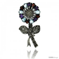 Sterling Silver Marcasite Large Sunflower Brooch Pin w/ Pear Cut Garnet, Amethyst & Blue Topaz Stones, 2 1/2 in (62 mm) tall