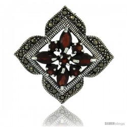 Sterling Silver Marcasite Clover Brooch Pin w/ Round & Marquise Cut Garnet Stones, 1 1/2 in (38 mm) tall