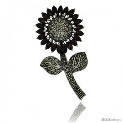 Sterling Silver Marcasite Large Sunflower Brooch Pin w/ Marquise Cut Garnet Stones, 2 1/2 in (62 mm) tall