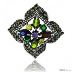 Sterling Silver Marcasite Clover Brooch Pin w/ Round & Marquise Cut Multi Colored Stones, 1 1/2 in (38 mm) tall