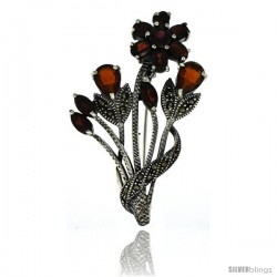 Sterling Silver Marcasite Flower Cluster Brooch Pin w/ Round, Pear, Oval & Marquise Cut Garnet Stones, 2 1/4 in (57 mm) tall