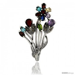 Sterling Silver Marcasite Flower Cluster Brooch Pin w/ Round, Pear, Oval & Marquise Cut Multi Color Stones, 2 1/4 in (57 mm)