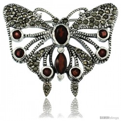 Sterling Silver Marcasite Butterfly Brooch Pin w/ Round, Oval & Marquise Cut Garnet Stones, 1 1/4 in (32 mm) tall