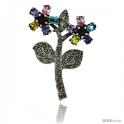 Sterling Silver Marcasite Double Flower Brooch Pin w/ Round & Oval Cut Multi Color Stones, 2 3/16 in (55 mm) tall