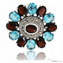 Sterling Silver Marcasite Large Flower Brooch Pin w/ Oval Cut Garnet & Blue Topaz Stones, 1 1/2 in (40 mm)