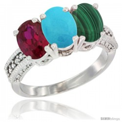 10K White Gold Natural Ruby, Turquoise & Malachite Ring 3-Stone Oval 7x5 mm Diamond Accent