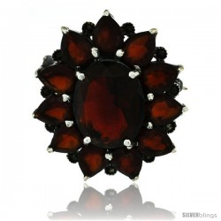 Sterling Silver Marcasite Large Flower Brooch Pin w/ Oval & Pear Cut Garnet Stones, 1 1/2 in (40 mm)