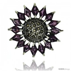 Sterling Silver Marcasite Flower Brooch Pin w/ Diamond Shape Amethyst Stones, 1 1/2 in (38 mm)