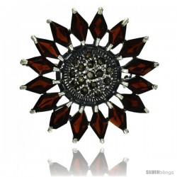 Sterling Silver Marcasite Flower Brooch Pin w/ Diamond Shape Garnet Stones, 1 1/2 in (38 mm)