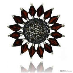 40mm Sterling Silver Marcasite Large Flower Brooch Pin w// Oval /& Pear Cut Multi Color Stones 1 9//16 in.