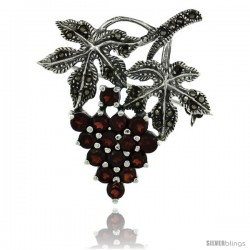 Sterling Silver Marcasite Grape Cluster Brooch Pin w/ Round Garnet Stones, 1 1/2 in (40 mm) tall