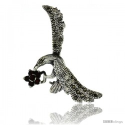 Sterling Silver Marcasite Hummingbird Brooch Pin w/ Round Garnet Stones, 1 3/4 in (42 mm) tall
