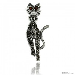 Sterling Silver Marcasite Cool Cat Brooch Pin w/ Round Garnet Stones, 1 7/16 in (36 mm) tall