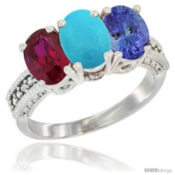 10K White Gold Natural Ruby, Turquoise & Tanzanite Ring 3-Stone Oval 7x5 mm Diamond Accent