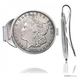 Sterling Silver Spring Back Morgan Dollar Money Clip (1878 - 1921)