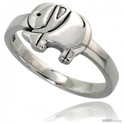 Sterling Silver Polished Elephant Ring