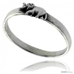 Sterling Silver Elephant Ring 3/16 in wide