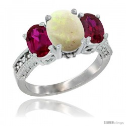 10K White Gold Ladies Natural Opal Oval 3 Stone Ring with Ruby Sides Diamond Accent
