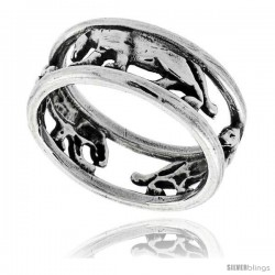 Sterling Silver Polished Panther Wedding Band Ring 1/4 in wide