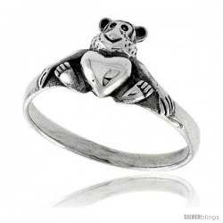 Sterling Silver Teddy Bear w/ Heart Ring 3/8 wide